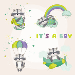 Baby Racoon Set - Baby Shower or Arrival Card - in vector
