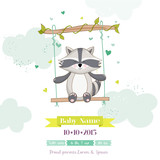 Baby Shower or Arrival Card - Baby Racoon - in vector