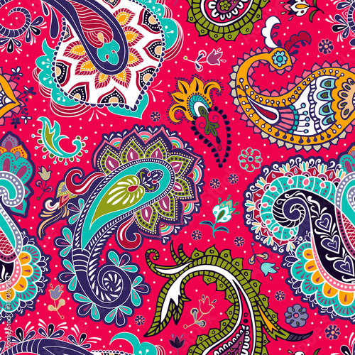 Poster Paisley floral seamless pattern
