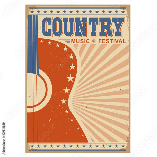 Aluminium Vintage Poster music festival background with guitar.Vector poster isolated on