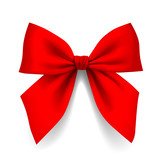 Red bow isolated on white background - 109336558