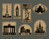 Vintage paper landmarks travel labels