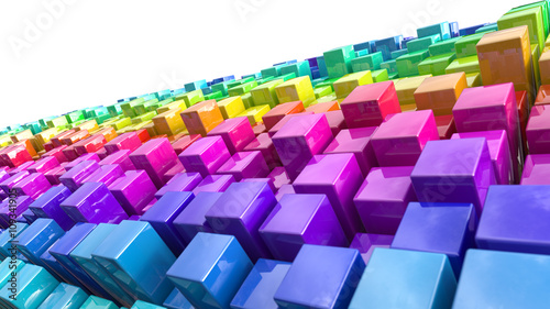 Rainbow coloured cubes © Kirsty Pargeter