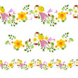 collection horizontal seamless borders with spring flowers