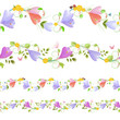 Lovely collection of seamless borders with spring flowers for yo