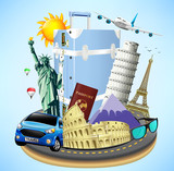 Road Island with Travel Objects and World's Well Known Landmarks