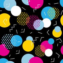Seamless geometric pattern in retro 80s style. Pop art circles, lines, zigzag pattern on black background.