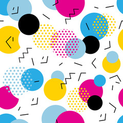 Seamless geometric pattern in retro 80s style. Pop art circles, lines, zigzag pattern on white background.