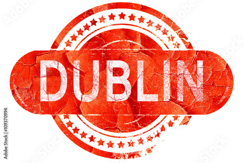 Poster dublin, vintage old stamp with rough lines and edges