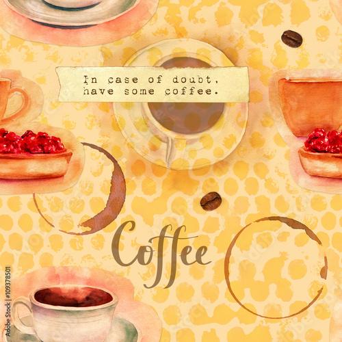 bezszwowy-kawowy-tlo-wzor-z-rocznik-akwarelami-i-wycinankami