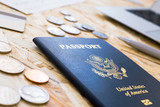 American passport and coins