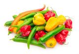 peperoncini verdi piccanti con habanero rossi e gialli
