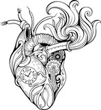 heart in steampunk style. Black and white.