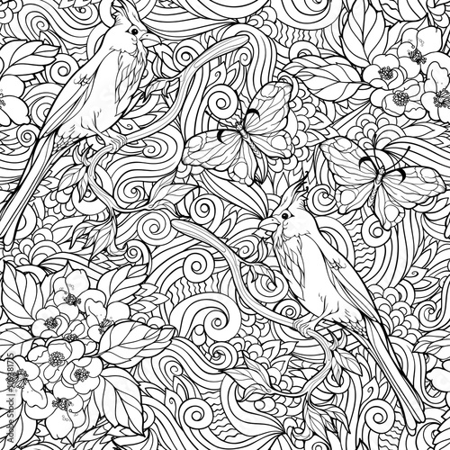 seamless pattern of flowers and parrots.