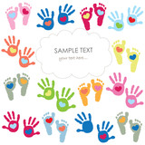 Baby footprint and hands kids colorful greeting card vector