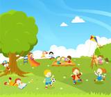 Fototapety Kids Playing At Park Illustration