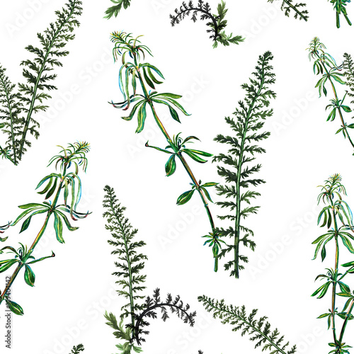 Seamless pattern with watercolor hand drawn green grass - 109404142