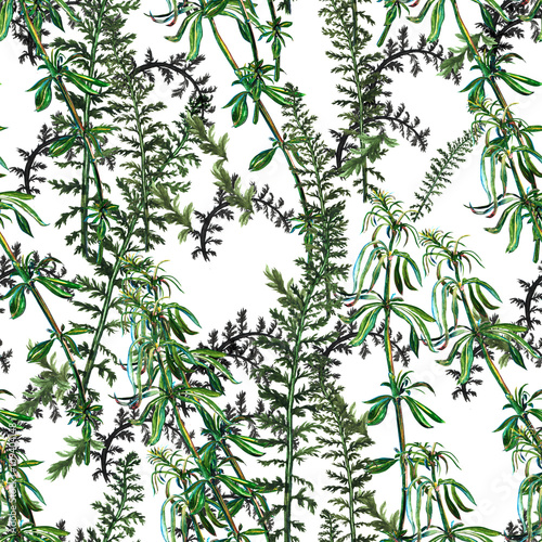 Seamless pattern with watercolor hand drawn green grass - 109404148
