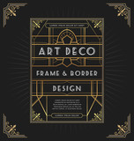 Art deco frame design for your design such as invitation, print, banner. Vector illustration