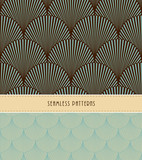 Fototapety 2 feathers or fish scales Japanese style seamless patterns, in blue and brown