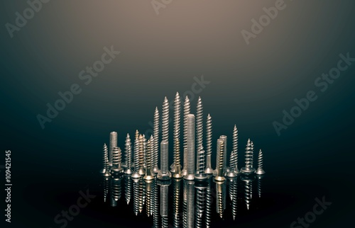 Poszter Various screws on end point upward to resemble a cityscape skyline