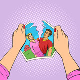 Hands tear photo of couple pop art vector