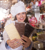 woman selling chocolates and confectionery