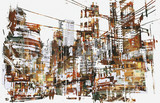 Fototapety illustration painting of urban city with grunge texture