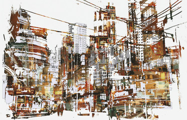 illustration painting of urban city with grunge texture
