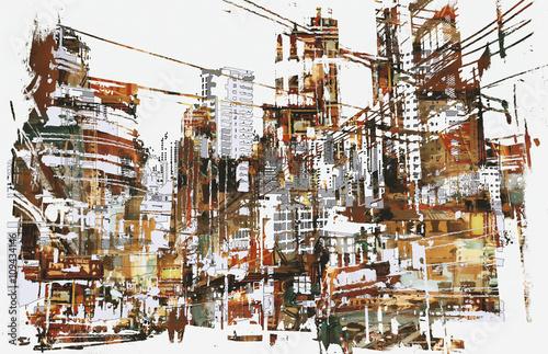 ilustracja-malarstwo-miejskiego-miasta-z-grunge-te