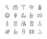 Fototapety Line Wine Icons
