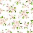 Vector seamless pattern with pink apple blossoms and green leaves on a white background.