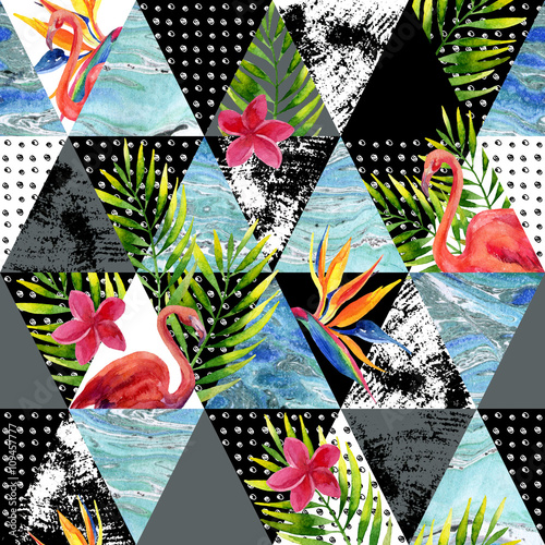 Cotton fabric Abstract grunge and marble triangles with tropical flowers, leaves