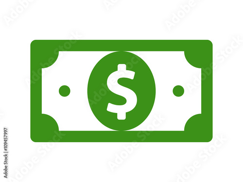 Green American dollar bill flat icon for financial apps and websites
