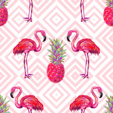 Fototapety Seamless summer tropical pattern with flamingo and pineapple vector background. Perfect for wallpapers, pattern fills, web page backgrounds, surface textures, textile