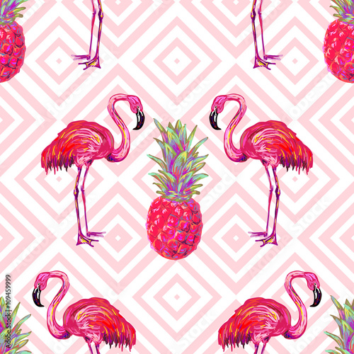 Seamless summer tropical pattern with flamingo and pineapple vector background. Perfect for wallpapers, pattern fills, web page backgrounds, surface textures, textile - 109459999