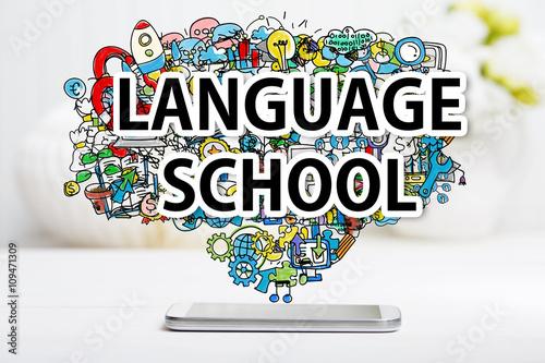 Language School concept with smartphone Canvas Print