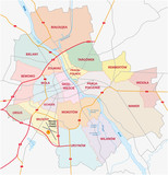 Fototapety administrative and road map of capital poland, warsaw