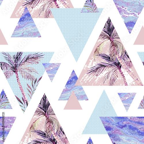Cotton fabric Abstract summer geometric seamless pattern