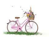 Riding a bicycle for a picnic in the spring