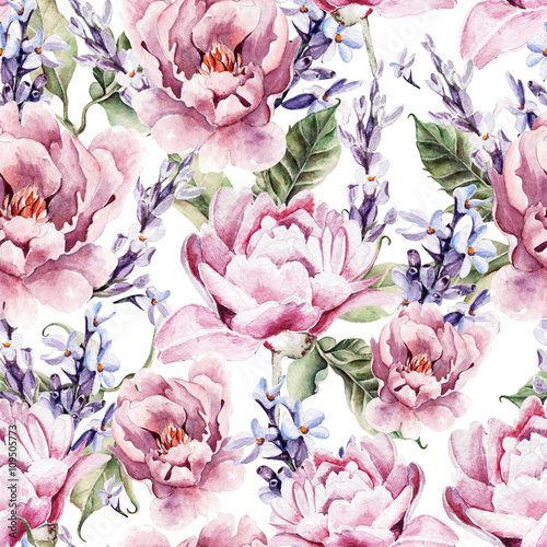 Watercolor seamless pattern with peony flowers and lavender.  - 109505773