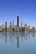 Lake view of Chicago city with buildings reflection on the water