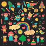 Fototapety Vector set of kindergarten images