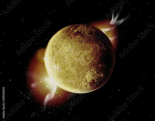 Poster gelber planet illustration im weltall mit aura und sternen