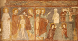 VERONA - JANUARY 27: Fresco of Resurrection of Lazarus and baptism of Christ from 13. - 14. cent. in basilica San Zeno in January 27, 2013 in Verona, Italy.