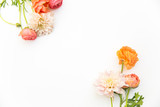 orange and pink flowers on a white background
