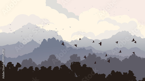 Horizontal illustration of flock of birds and forest with mounta