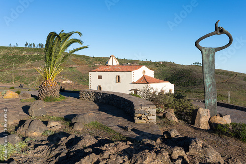 Monument of whistling language at the overlook Mirador de Igualero and the church Iglesia de San Francisco in the highland of La Gomera, Canary archipelago. Situated in the municipality of Chipude