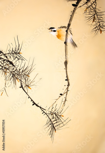 Fototapeta Chinese ink painting bird and plant