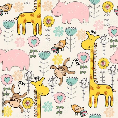 Fototapeta hand draw seamless pattern with giraffe and monkey.